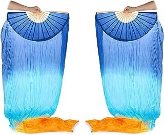 Skelang Fan Veils, 100% Silk Belly Dance Fans for Belly Dance Class, Folk Art Performance, School's Activities, 1 Pair