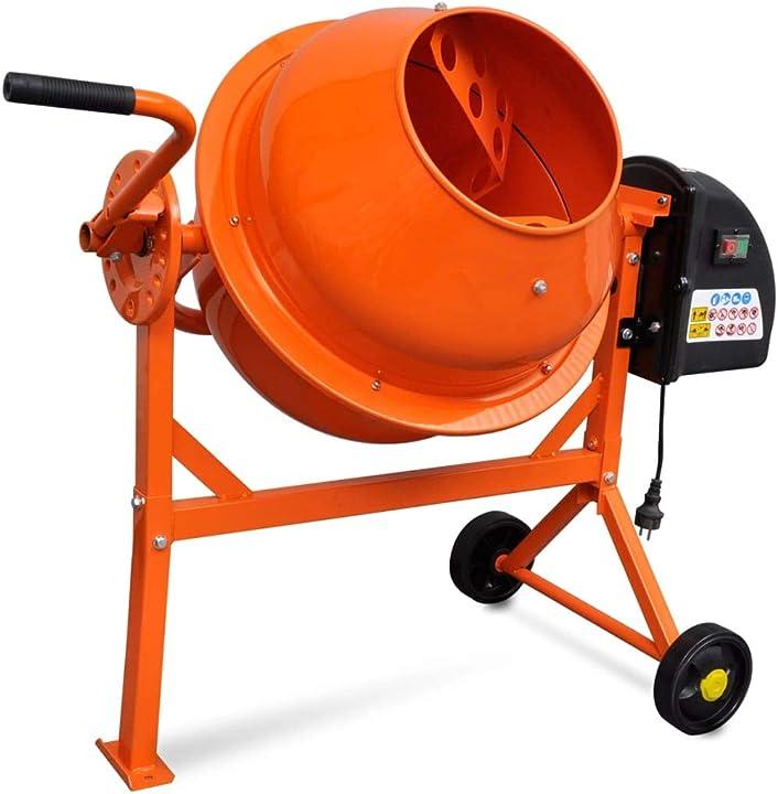 Betoniera vidaxl calcestruzzo elettrica 63 l 220w acciaio arancio miscelatore 141200