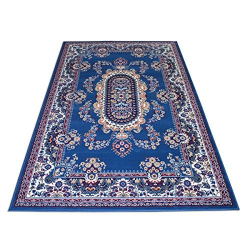 Alfombra clásica Royal Shiraz 2063, de color azul claro, económica, disponible en diferentes tamaños