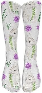 Huadduo Watercolor Baby Bunny Compression Socks Foot Long Stockings Anti Fatigue Varicose Veins Socks For Men Women Supports Sport Running Cycling Football Slim Leg Travel Medical Nursing.