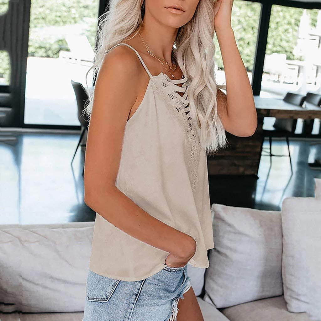 Whycat Spaghetti Strap Lace Tank Tops for Women V Plunge Cross Front Plus Size Camisole Tops Sleeveless T Shirts Cami Vest Tops Summer Casual Holiday Beach Club Festival Tanks Blouse