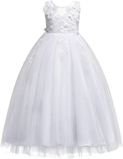 Big Girls Lace Flower Wedding Bridesmaid Formal Party Tulle Dresses Long Pageant Communion Prom Floor Length Ball Gown