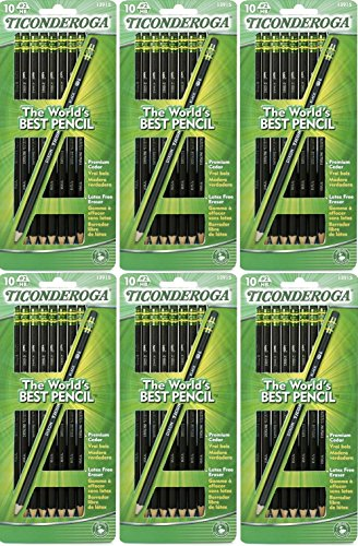 Dixon Ticonderoga Wood-Cased #2 Pencils, Pre-Sharpened, Pack of 60, Black (13915) (60)