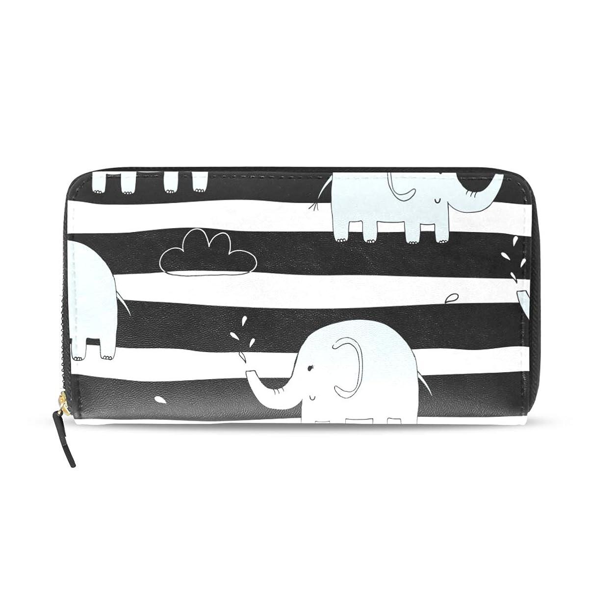 東放置セクション旅立の店 長財布 人気 レディース メンズ 大容量多機能 二つ折り ラウンドファスナー PUレザー 可愛い 小象柄 白黒の縞 ウォレット ブラック