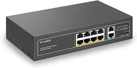 MokerLink 10 Port PoE Switch with 8 Port PoE+, 2 Gigabit Uplink, 120W 802.3af/at PoE 100Mbps, Fanless Plug & Play