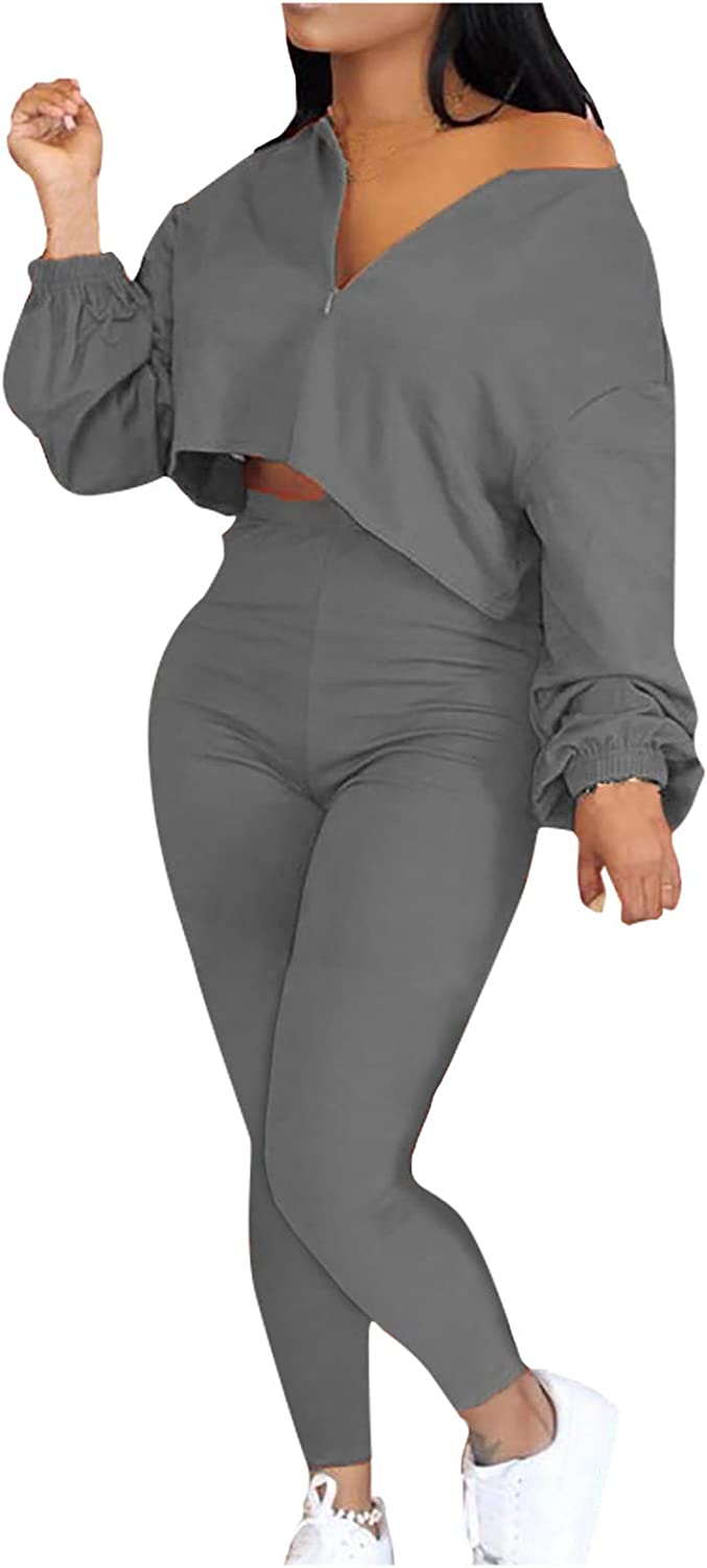 Forwelly Women's Plus Size Two Piece Outfit Zipper Crop Tops Long Pants Set Sweatsuit Casual Sport Tracksuits