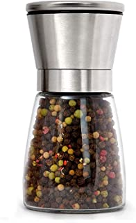 FYY Pepper Grinder or Salt Shaker (1 PC),Premium Original Brushed Stainless Steel Spice Mill with Ceramic Blades & Glass B...