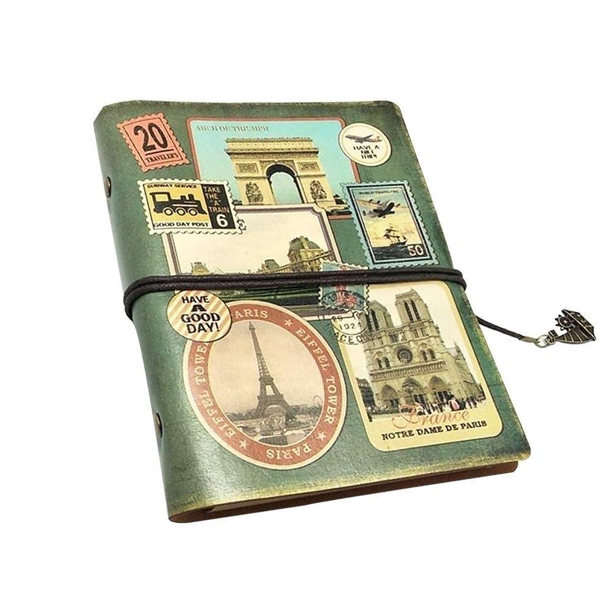 ルーズリーフハンドブック、オフィスノート、メモ帳ジャーナル、ヨーロッパスタイルのレトロPUレザー (Color : 1)