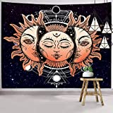 Hexagram Sun And Moon Wall Tapestries Indian Boho Tapestry Wall Hanging Hippie Tapestry Trippy Sun Tapestry With Starry Backdrop Large Wall Tapestry For Bedroom Living Room Dorm Decorations
