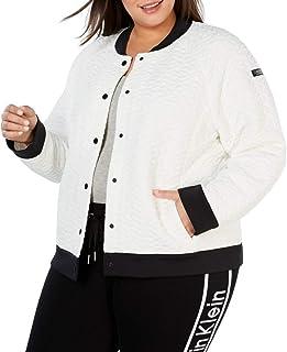 Calvin Klein Women's Plus Size Snap Front Bomber Jacket, Cloud Combo, 3X