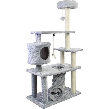 CUPETS - Árbol para gatos, escalador de gatos, torre de actividad, condominio, varios niveles, gris, casa de juegos para mascotas con poste para rascar y árbol de actividades, productos para gatos de 138 cm de alto
