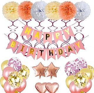 Decoración de cumpleaños mreechan,globos cumpleaños decoración set con globos rosas,pompones de papel de seda rosa para la decoración cumpleaños,primer cumpleaños,fiesta de cumpleaños