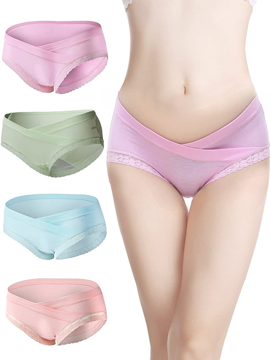 AIWITHPM Maternity Underwear Pregnancy Panties Cotton Briefs with Belly Support Breathable