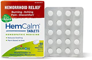 Boiron Hemcalm hemorrhoid Relief Tablets for Itchy Burning Pain, Swelling and discomfort, 60 Count