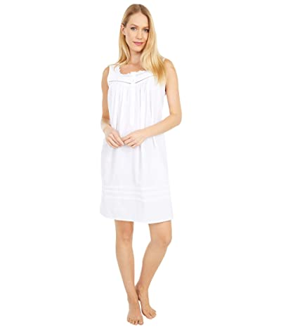 Eileen West Cotton Lawn Woven Sleeveless Short Chemise (White) Women