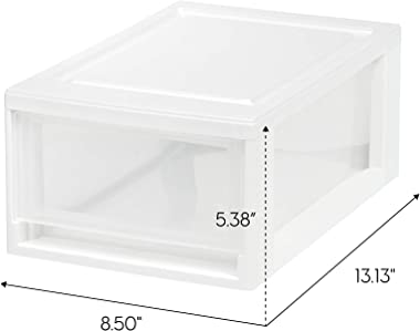 IRIS USA MSD-1 Compact Stacking Drawer, White, 6 Quart, 4-Pack