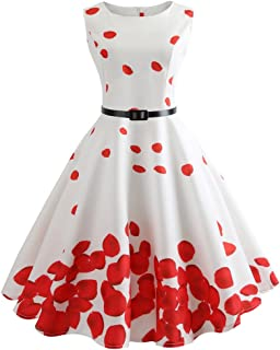 Women Floral Swing Dress, Vintage Sleeveless Casual Evening Party Prom Bodycon Dress ANJUNIE