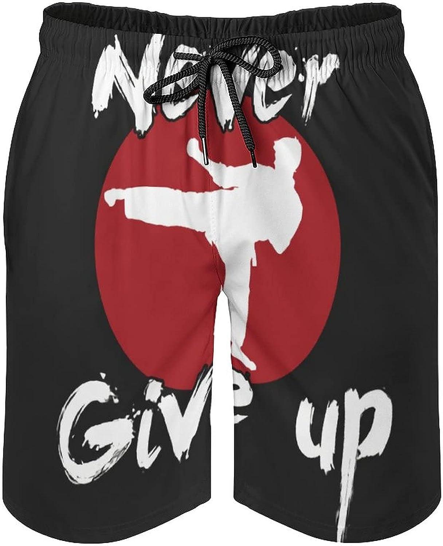 B&MAVIS Never Give Up Karate Kick Design Men's Summer Quick Dry Swim Trunks Casual Board Shorts Beachwear for Boys Men