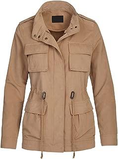 Women's Military Jacket - Safari Army Coat - Utility Versatile Zip Up Outerwear