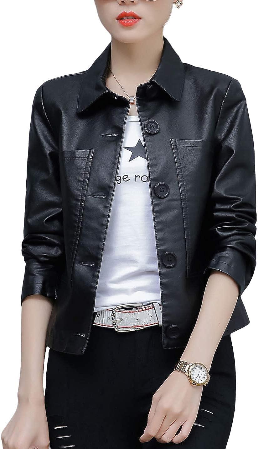 Jenkoon Women's Notch Lapel PU Inventory cleanup 2021 model selling sale Leather B Coat Long Jacket Single