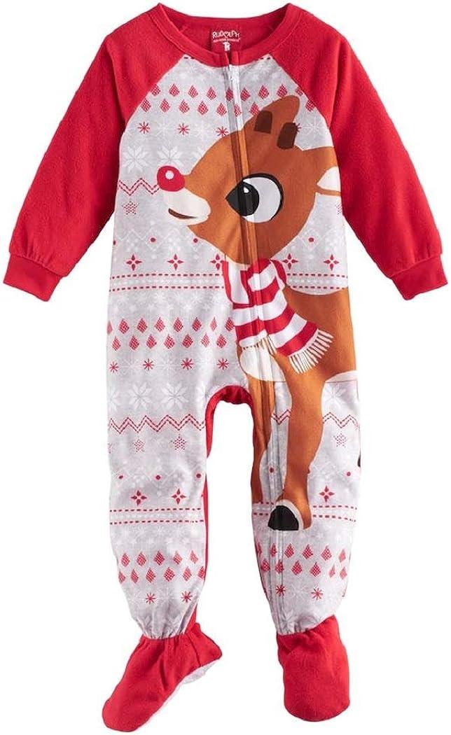 Rudolph The Red-Nosed Reindeer Christmas Fleece Blanket Pajama Sleeper (24 Months)