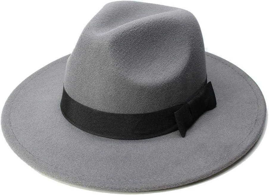No-branded Women's Hat Fedora Hat for Women Men Big Size Wool Sombrero Fedora Panama Jazz Hat Black Ribbon PXTTLKJ (Color : Gray, Size : 56-58cm)