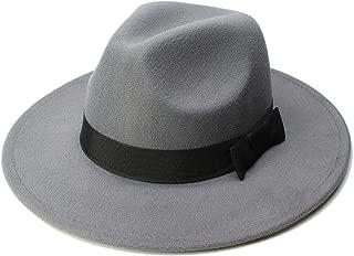 CHENDX High Quality Hat, Big Size Wome Men Fedora Hat Advanced Wool Sombrero Black Ribbon Panama Jazz Hat (Color : Gray, Size : 59-61CM)