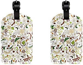 Leaves And Flowers PatternLeather Luggage Tags Suitcase Labels Bag Travel ID Bag Tag, 1 Pcs