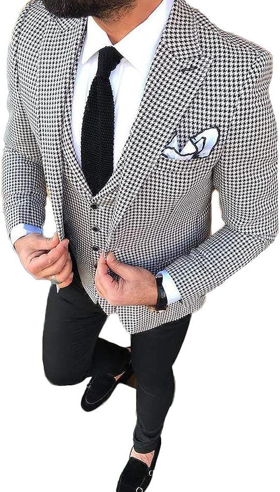 TOPG Men's Slim Fit White 3 Pieces Wedding Suits Formal Men Suit 34/28