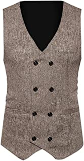 Balakie Mens Sleeveless Jacket Tweed Check Double Breasted Retro Slim Waistcoat