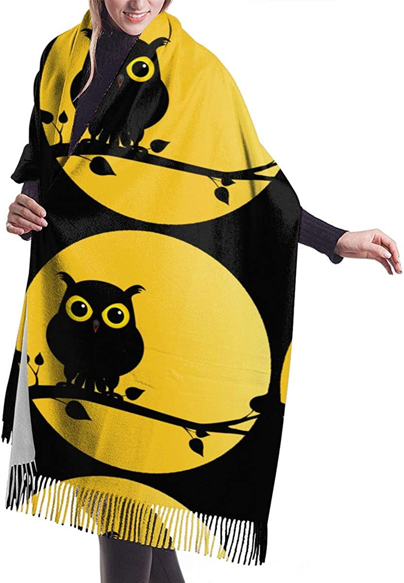 Silhouette Of Owl On Branch With Full Moon Winter Scarf Cashmere Scarves Stylish Shawl Wraps Blanket
