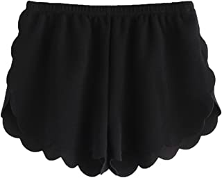 MAKEMECHIC Women's Solid Elastic Waist Scalloped Casual Fitted Shorts