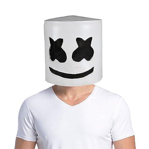 Uecoy Marshmello DJ Mask Full Head Helmet Halloween Cosplay Mask Bar Music Props Novelty Adult Mask