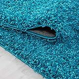 Hochflor Shaggy Teppich für Wohnzimmer Langflor Pflegeleicht Schadsstof geprüft 3 cm Florhöhe Oeko Tex Standarts Teppich, Maße:140x200 cm, Farbe:Türkis - 4