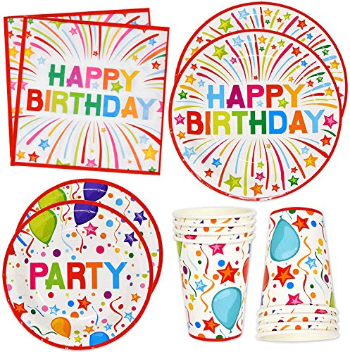 """Happy Birthday Party Supplies Tableware Set 24 9"""" Plates 24 7"""" Plate 24 9 Oz. Cups 50 Lunch Napkins for Adult Teens Kids Boys Girls Balloon Confetti Rainbow B-day Parties Disposable Paper Goods Decor"""