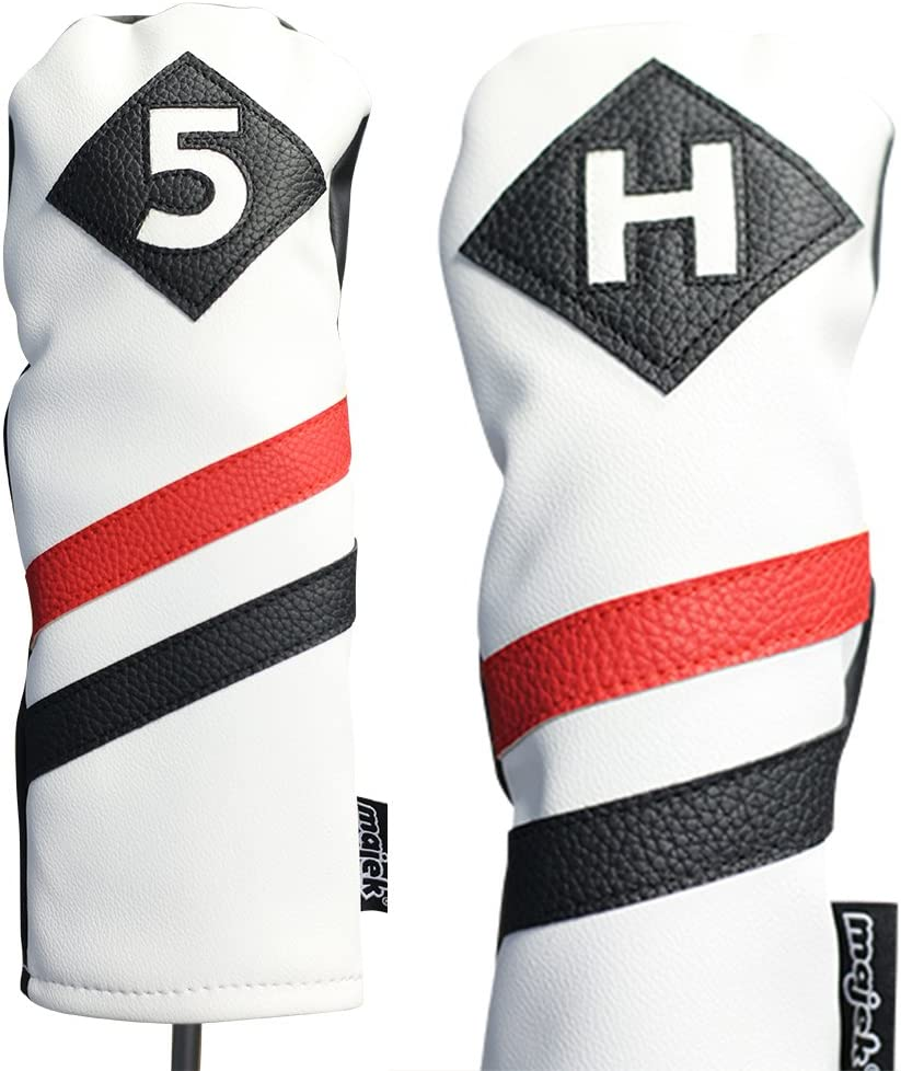 Majek Online limited product Retro Golf Headcovers White Black Leather Special sale item Vintage and Red