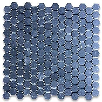 Stone Center Online Nero Marquina Black Marble 1 inch Hexagon Mosaic Tile Honed for Kitchen Backsplash Bathroom Flooring Shower Surround Dining Room Entryway Corrido Spa  1 Sheet
