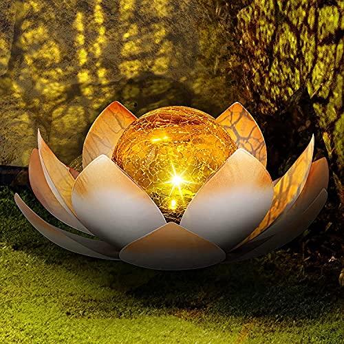 2 Stücke Dekorative Solar Lotusblüte aus mit Glaskugel - angenehm warmweißes Licht - traumhafte Lichteffekte - Bruchglasoptik - Solarlampe Gartenbeleuchtung Lotusblume