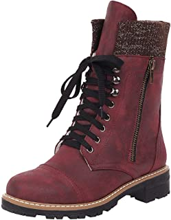Fashion Women's Motorcycle Boot Ladies Girls Riding Cowboy Boots Motorcycle Boots Lace-Up Shoes