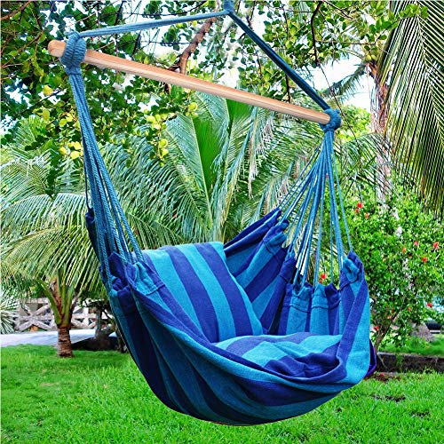Blissun Hanging Hammock Chair, Hanging Swing Chair with Two Cushions, 34 Inch Wide Seat Seaside Stripe