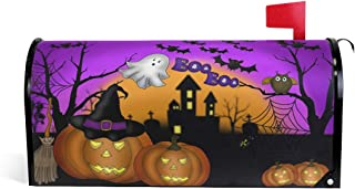 ALAZA Halloween Ghost Owl Bat Castle Boo Purple Magnetic Mailbox Cover Oversized-25.5