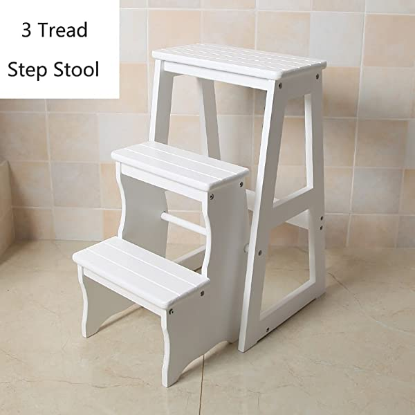 Folding Stepladder Wood 3 Step Stool For Adults Kids Kitchen Wooden Ladders Small Foot Stools Indoor Portable Shoe Bench Flower Rack Color White