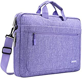 MOSISO Laptop Shoulder Bag Compatible with 15-15.6 Inch MacBook Pro,Ultrabook Netbook Tablet with Adjustable Depth at Bottom,Polyester Messenger Briefcase Carrying Handbag Sleeve Case Cover,Purple