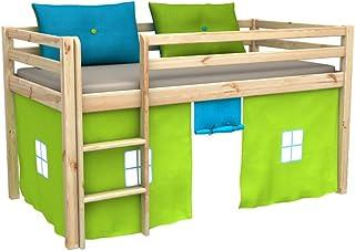 comprar comparacion Cama de juego,cama para niños,de alta,cama con cortinas,colchón,somier,blanco,muchos colores