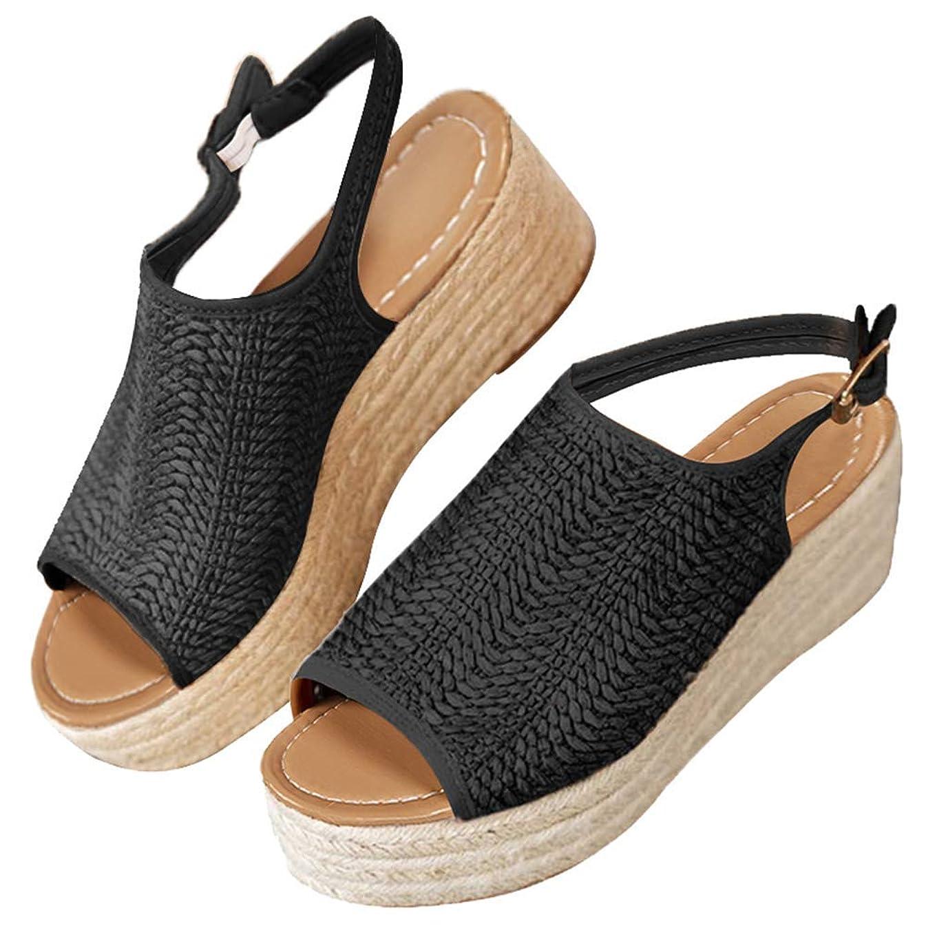 Women's Espadrilles Wedge Sandals Open Toe Summer Mid Heel Platform Sandals Ankle Straps Buckle Flat Sandals