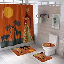 $29 » HOLD HIGH Shower Curtain, 4PCS Non Slip Polyester Bathroom Bath Curtains Set with Flower Squirrel Girl Beach Eiffel Tower, Pedestal Rug + Lid Toilet Cover + Bath Mat Set