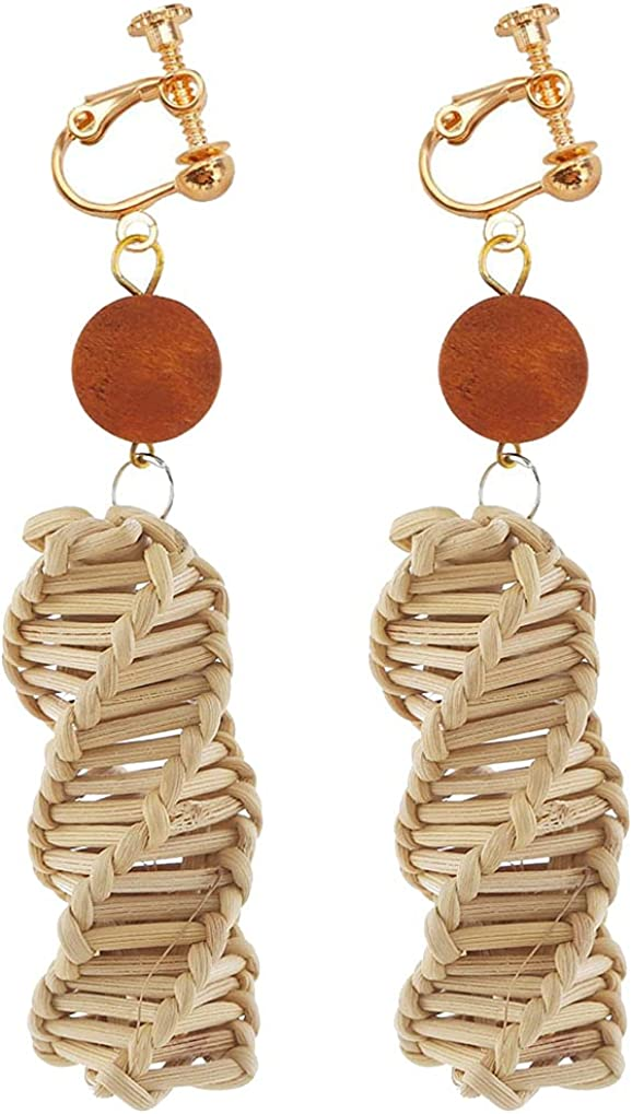 Clip on Non Pierced Earrings Wooden Beaded and Rattan Dangle Drop for Women Girl Fashion Ears Jewelry Handmade Woven Geometric Spiral Bar Dangling Boho Style Princess Gifts Party Dress Up