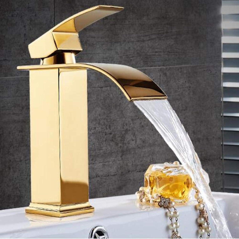 Lddpl Wasserhahn Wasserfall Wasserhahn Gold Messing & Jade Becken Wasserhahn heien und kalten Waschtischmischer hoch Waschbecken Wasserhahn Mischbatterie