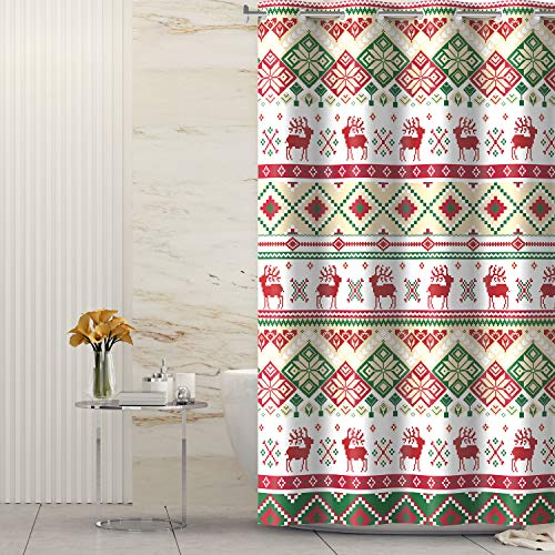 Lagute Christmas Hook Free Fabric Shower Curtain with Snap-in Liner, Water Repellent, Machine Washable, Hotel Grade, Heavy Duty, Winter Festive Bath Curtain, Green Mosaic Deer, 71Wx74L