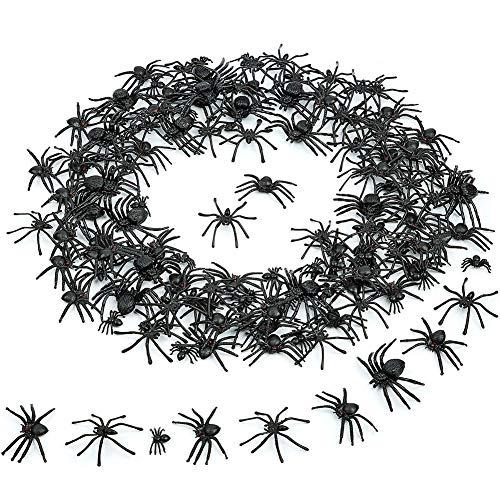 SIMUER 120 Piezas Araña Negra de Plástico Scary Spider Props Halloween Realistic Prank Terriblemente Realista para Momentos Impactantes - 5 Tamaños